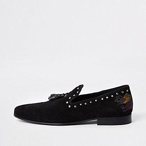 Zwarte loafers met geborduurde draak en studs