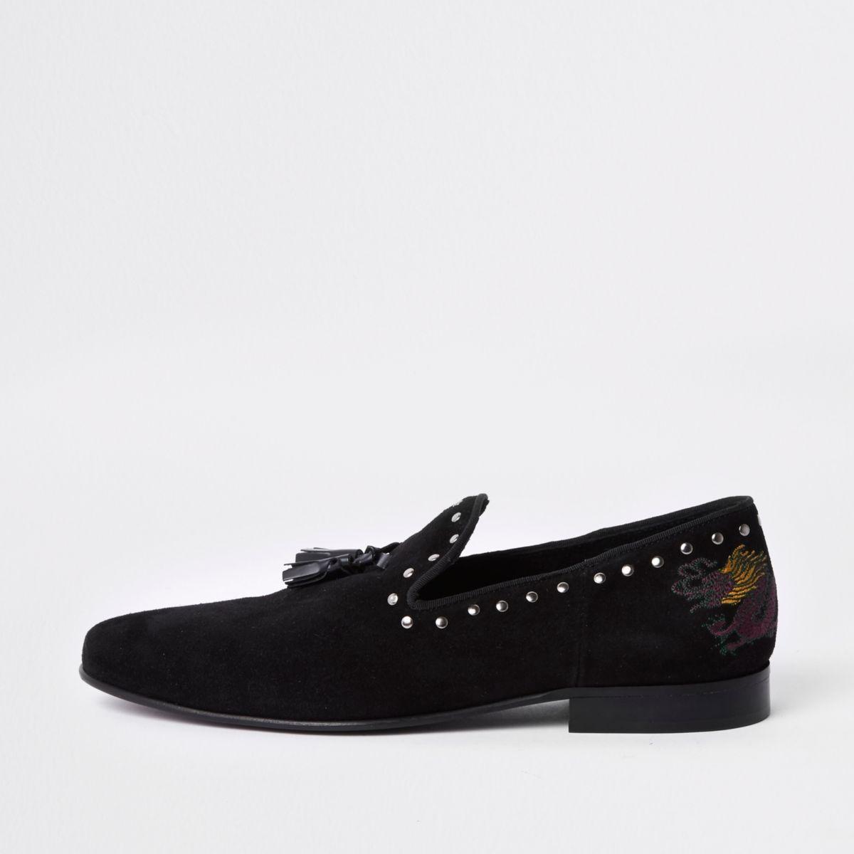 Black studded dragon embroidered loafer