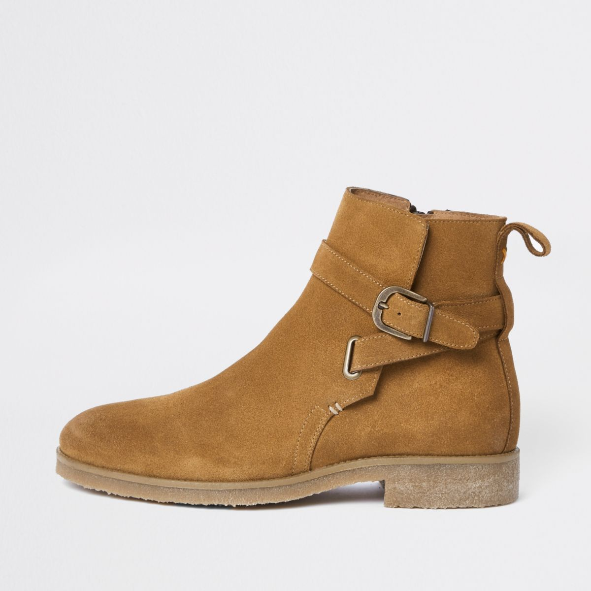 Tan suede buckle strap chelsea boots
