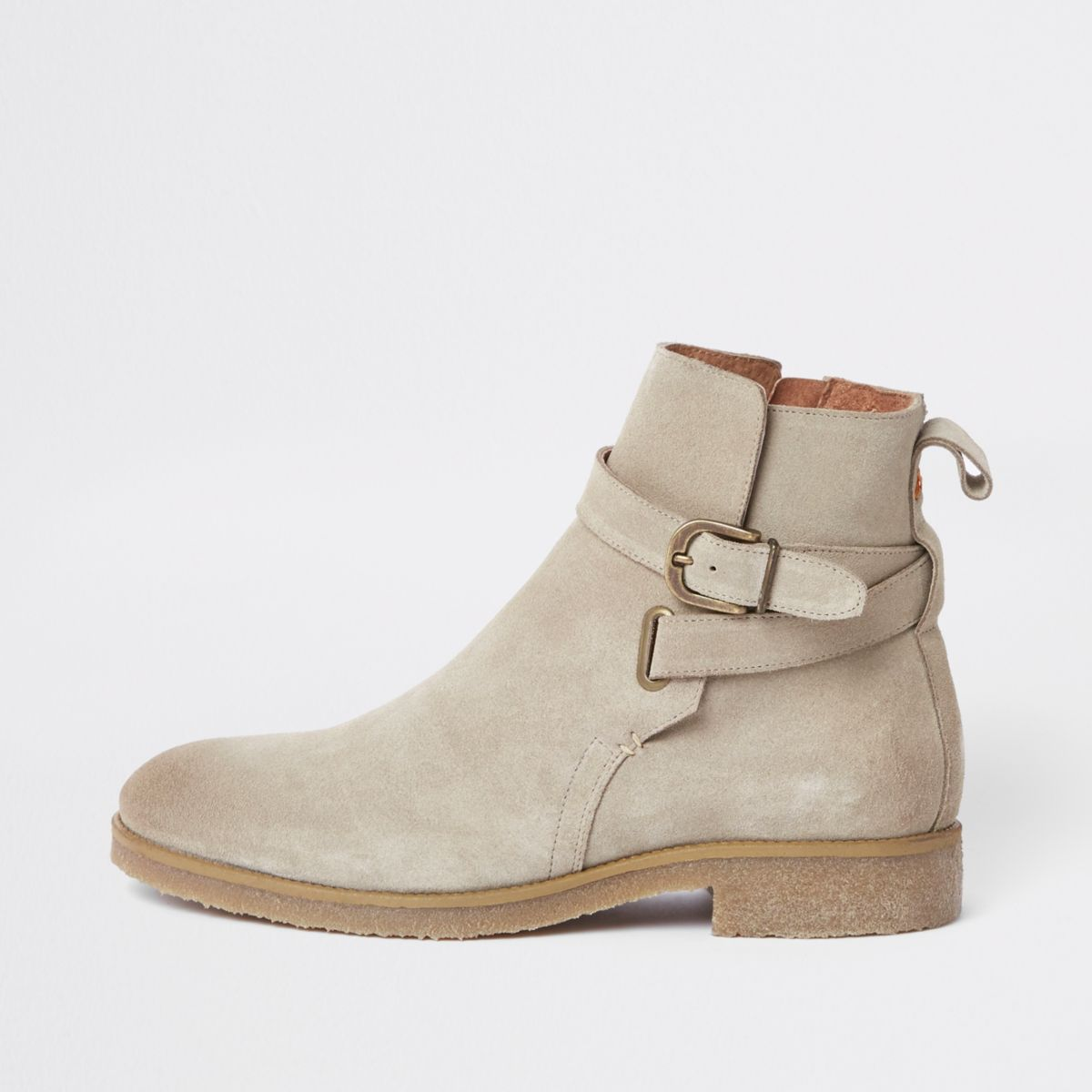 Stone suede buckle strap chelsea boots
