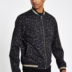Black leopard print skinny fit bomber jacket