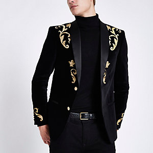 Black and gold embroidered skinny fit blazer