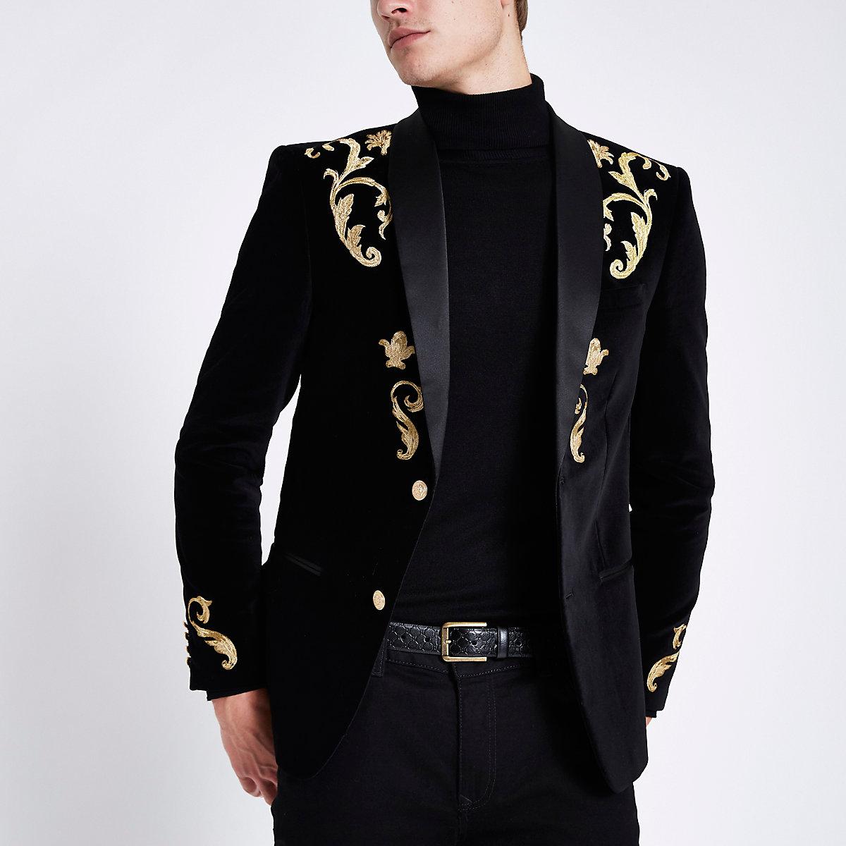 Skinny Fit Blazer in Schwarz und Gold