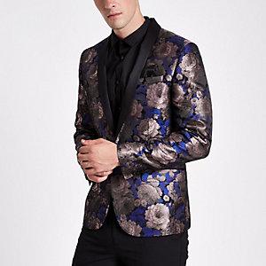 Paarse skinny-fit blazer met bloemenprint