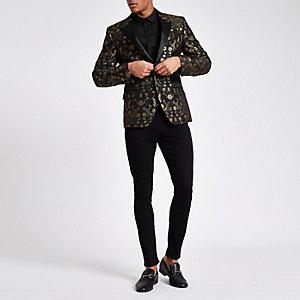 Green floral print skinny fit blazer