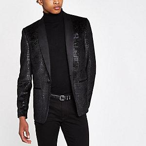 Grey snakeskin skinny fit blazer