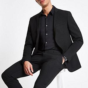 Schwarze Skinny Fit Anzugjacke mit Stretch