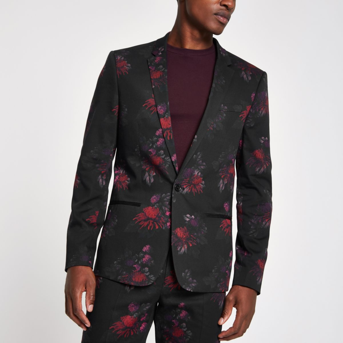 Black floral skinny suit jacket