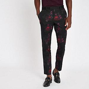 Zwarte gebloemde skinny-fit pantalon