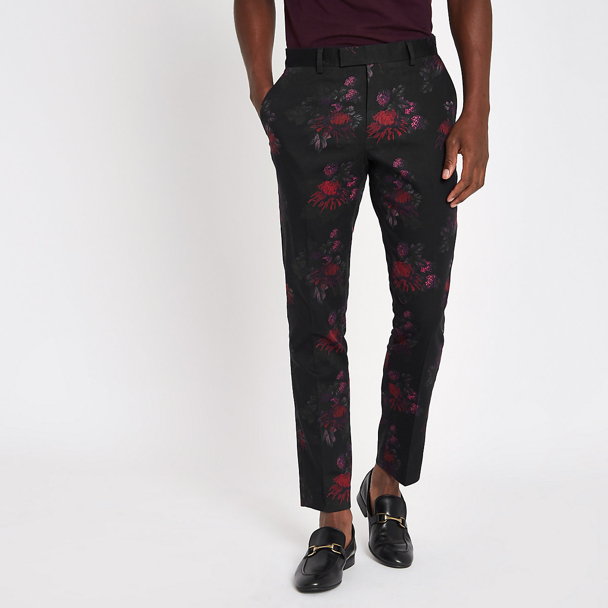 Black floral skinny suit trousers
