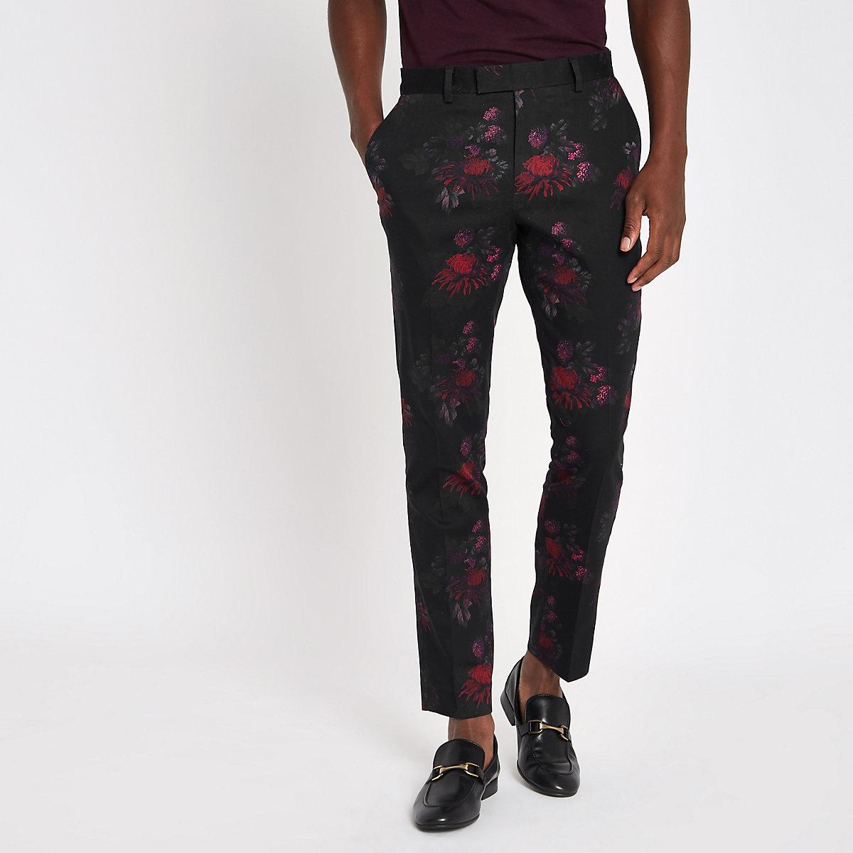 Black floral skinny suit pants
