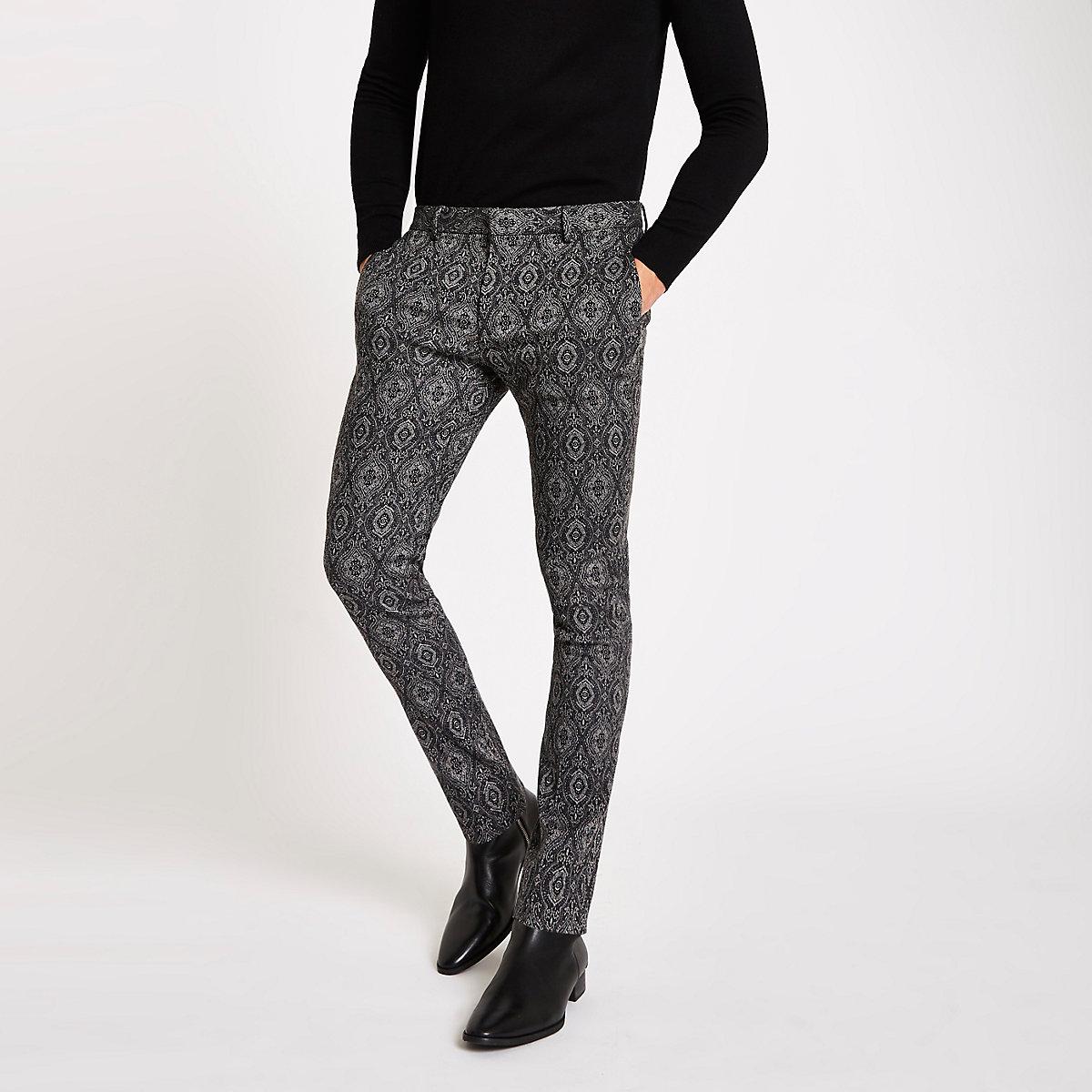 Black tile print ultra skinny smart trousers