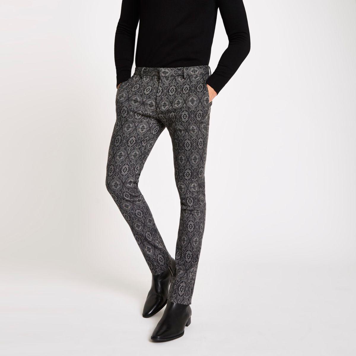 Black tile print skinny fit smart pants
