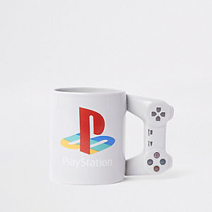 Grey PlayStation controller mug
