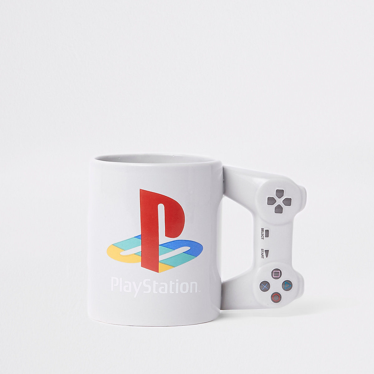 Grey PlayStation controller mug