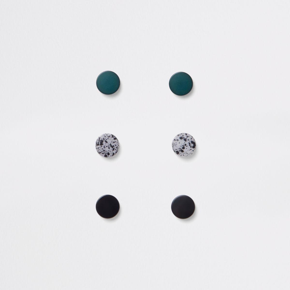 Green plug earrings multipack
