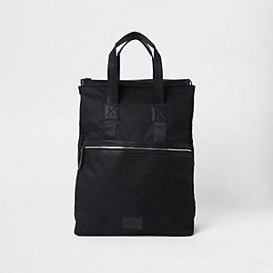 Schwarzer Hybrid-Rucksack mit Reißverschluss