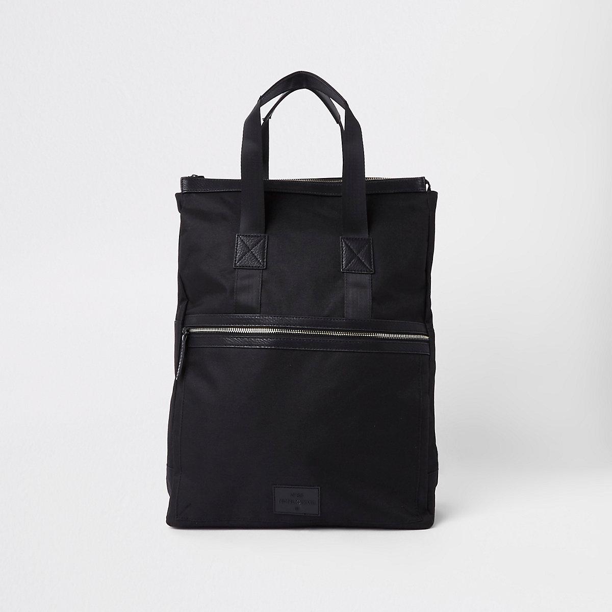 Black zip-up hybrid backpack