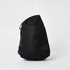 Black single strap zip-up backpack