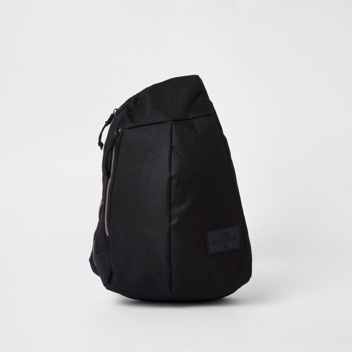 Black single strap zip-up backpack