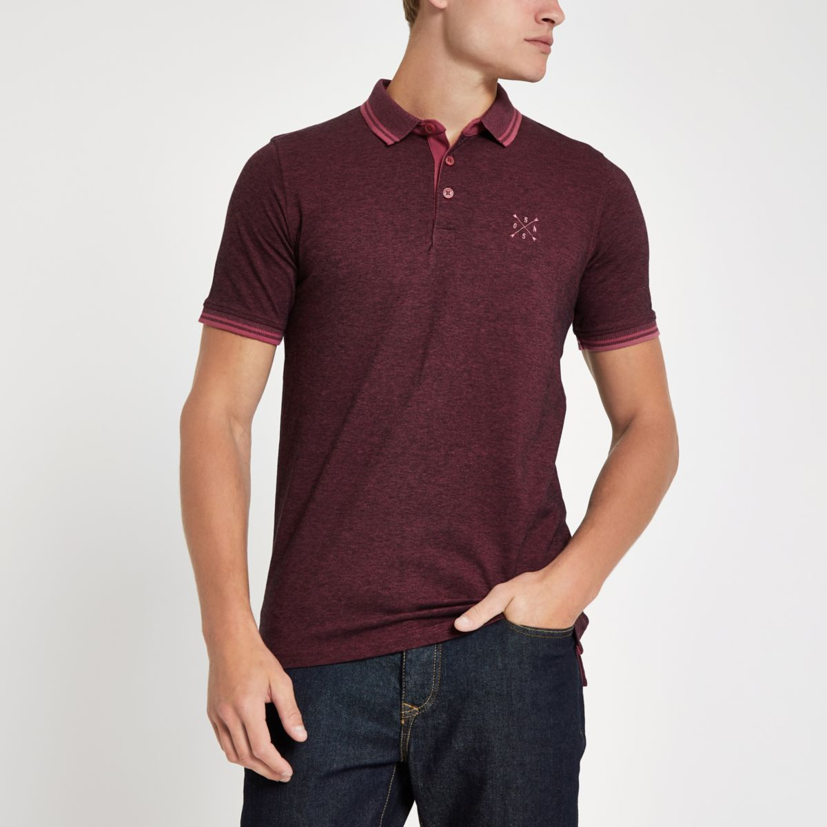 Only & Sons brown polo shirt