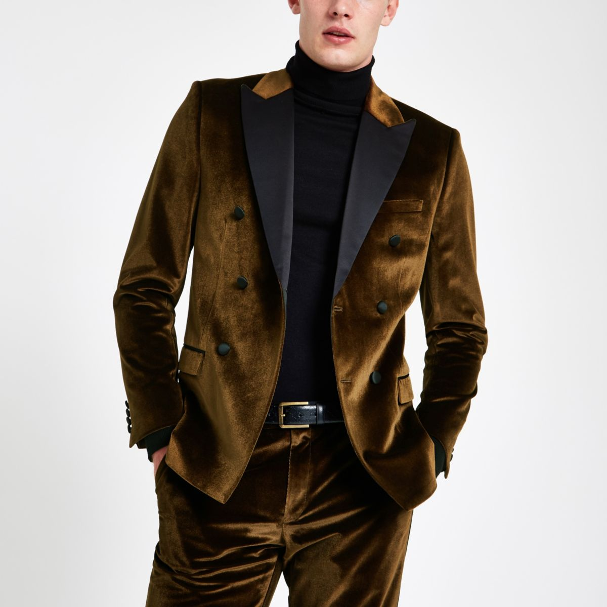 Gold velvet double breasted suit jacket