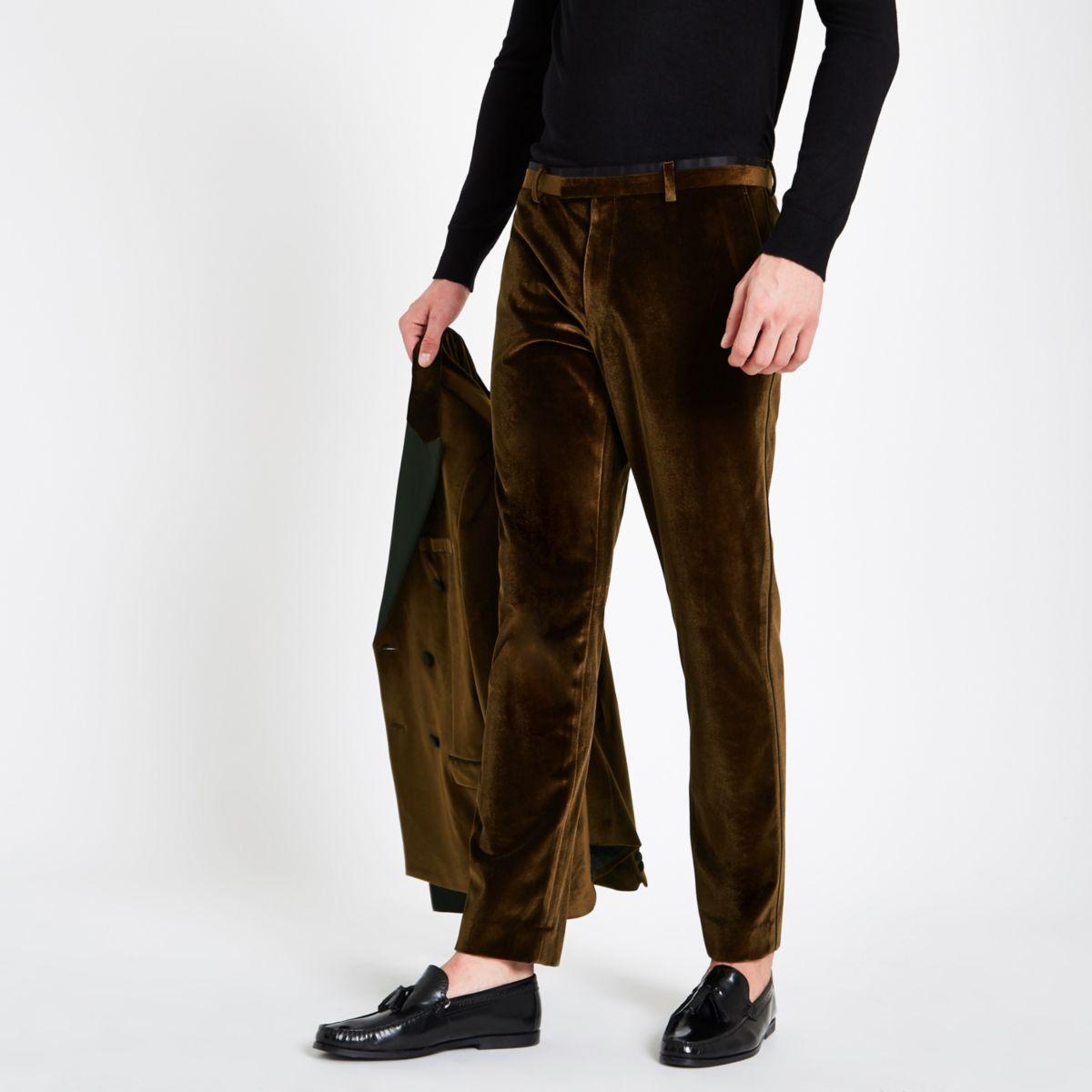 Gold velvet skinny suit trousers