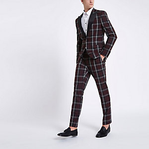 Dark red check skinny suit jacket