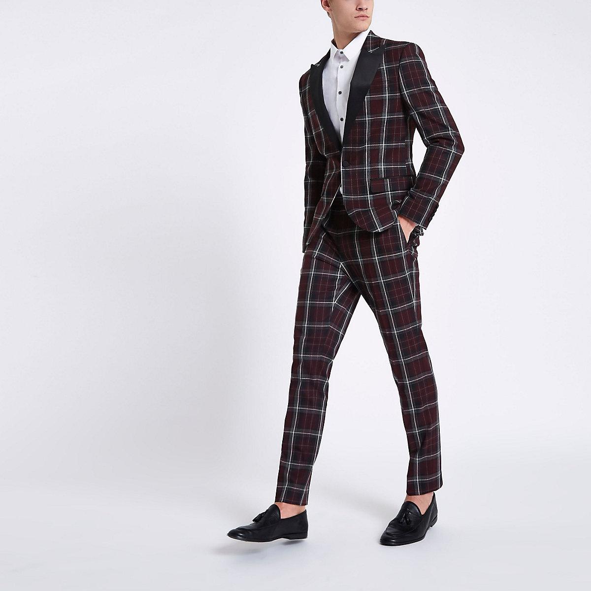 Dark red check skinny suit jacket