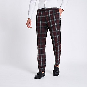 Dark red check skinny suit pants