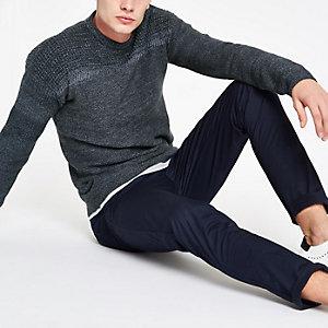 Only & Sons - Blauwe pullover met textuur en ronde hals