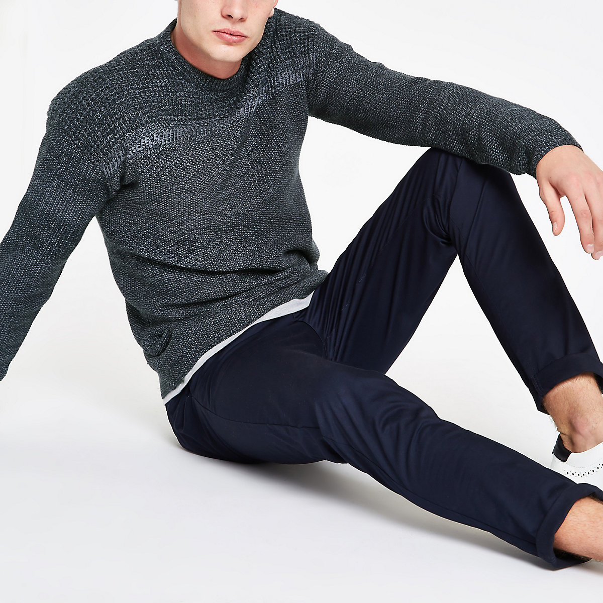 Only & Sons blue textured crew neck jumper