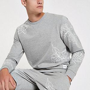 Only & Sons – Graues, geblümtes Sweatshirt