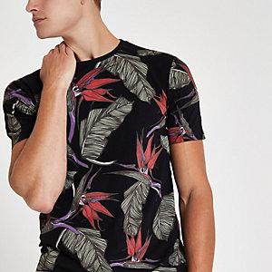 Only & Sons – T-shirt imprimé tropical noir