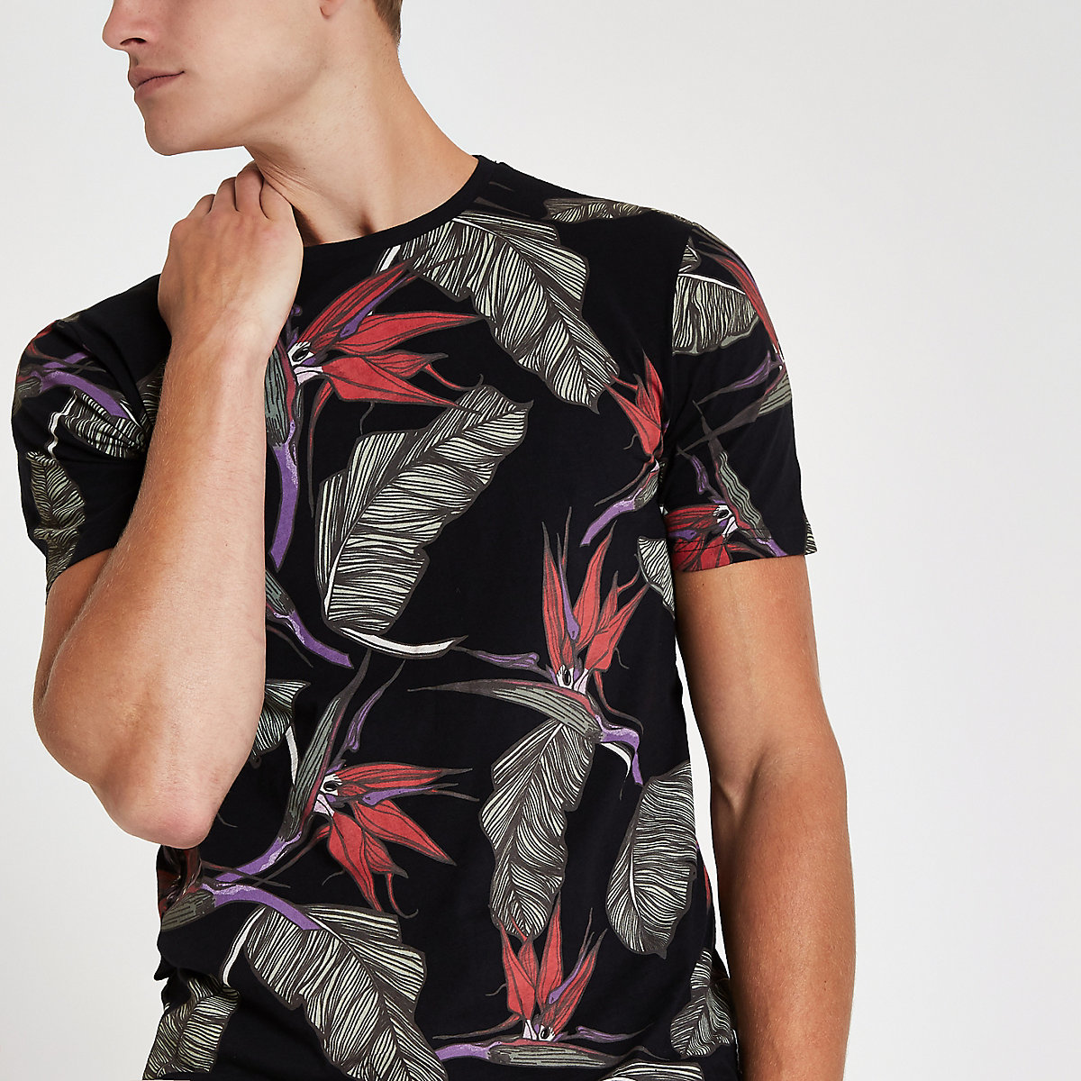 Only & Sons black tropical print T-shirt