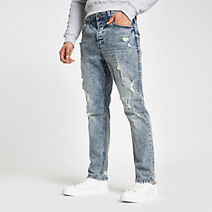 Only & Sons - Blauwe wash slim-fit ripped jeans