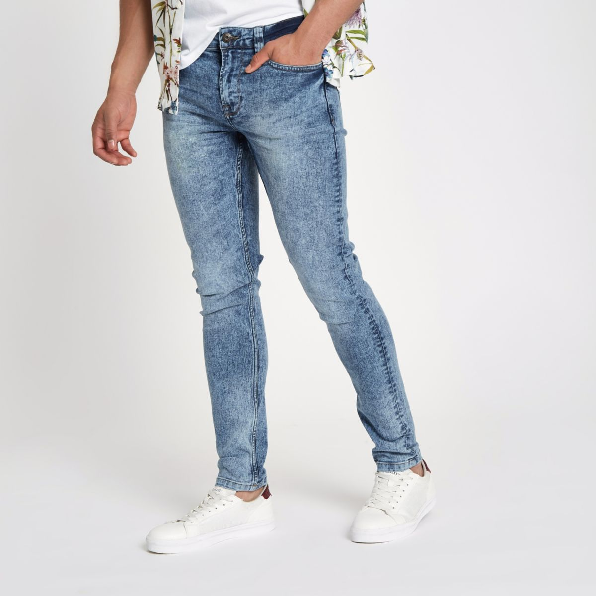 Only & Sons mid blue skinny jeans