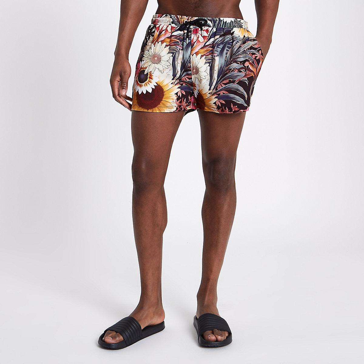 White sunflower print pull on shorts
