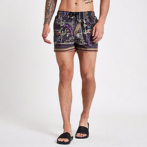 Black baroque print swim trunks