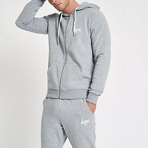 Hype – Sweat à capuche gris zippé devant