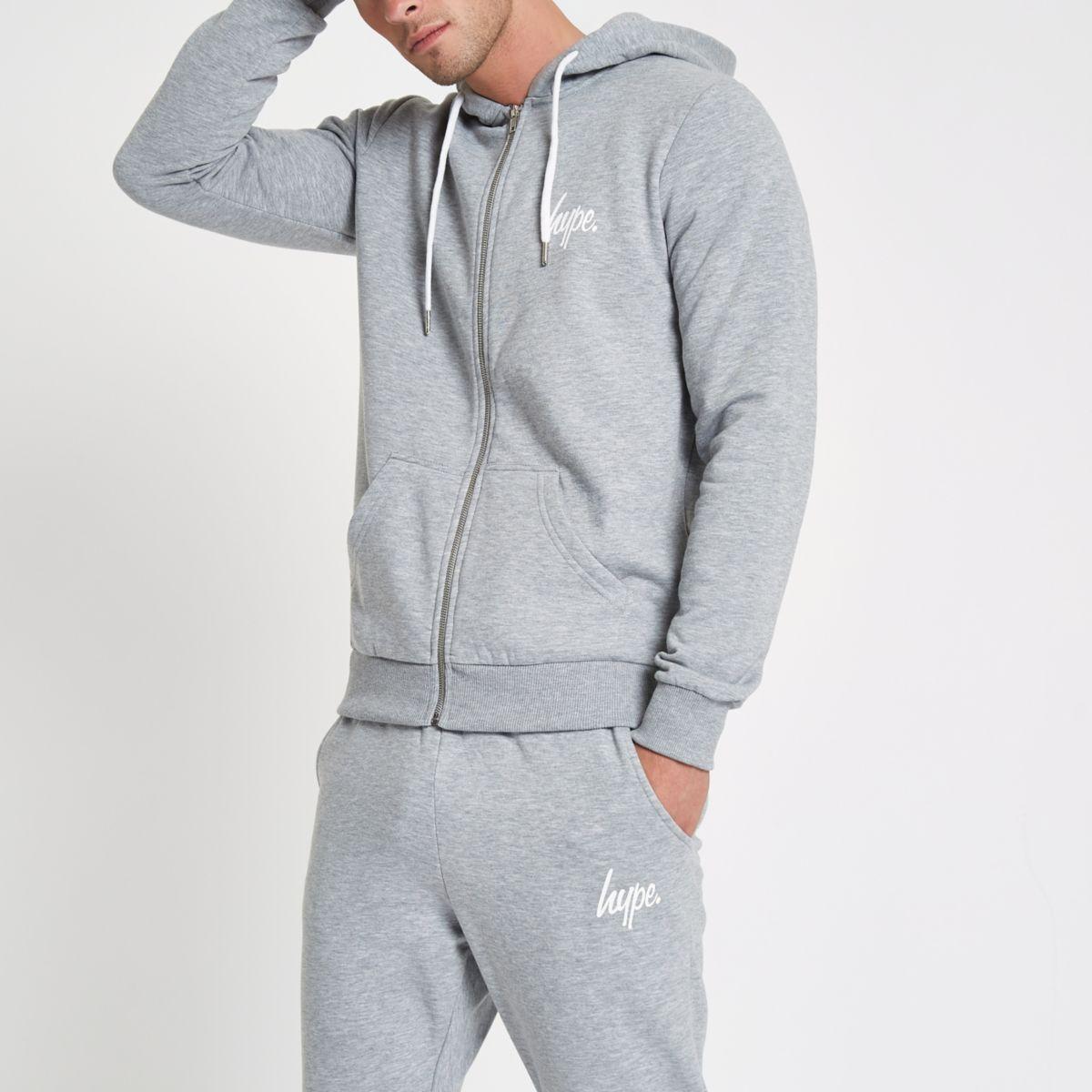 Hype grey zip front hoodie