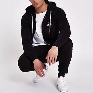 Hype - Zwarte hoodie met rits voor