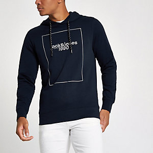 Jack & Jones Core - Marineblauwe hoodie met '1990'-print