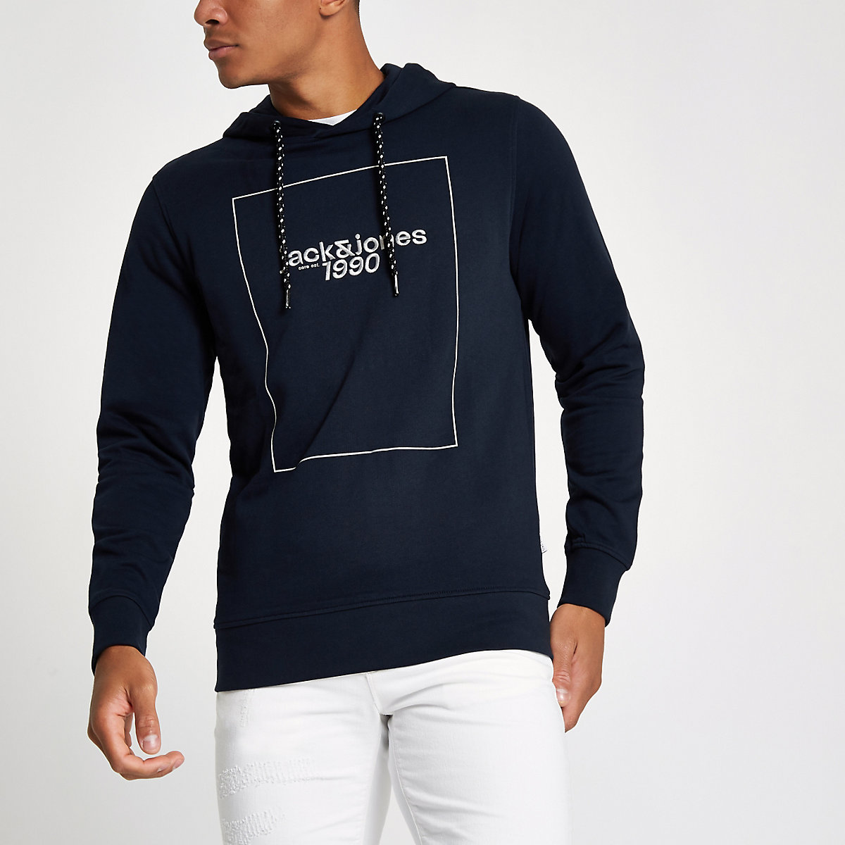 Jack & Jones Core navy '1990' hoodie