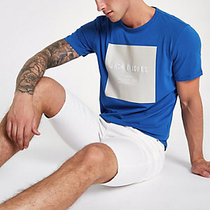 Jack & Jones - Blauw T-shirt met 'create culture'-print