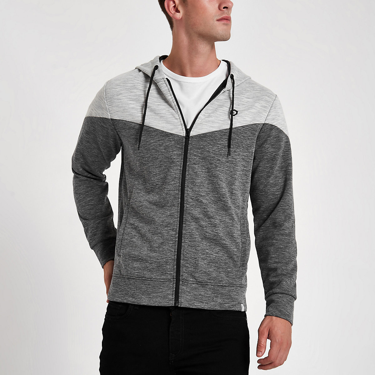 Jack & Jones Core black zip-up hoodie