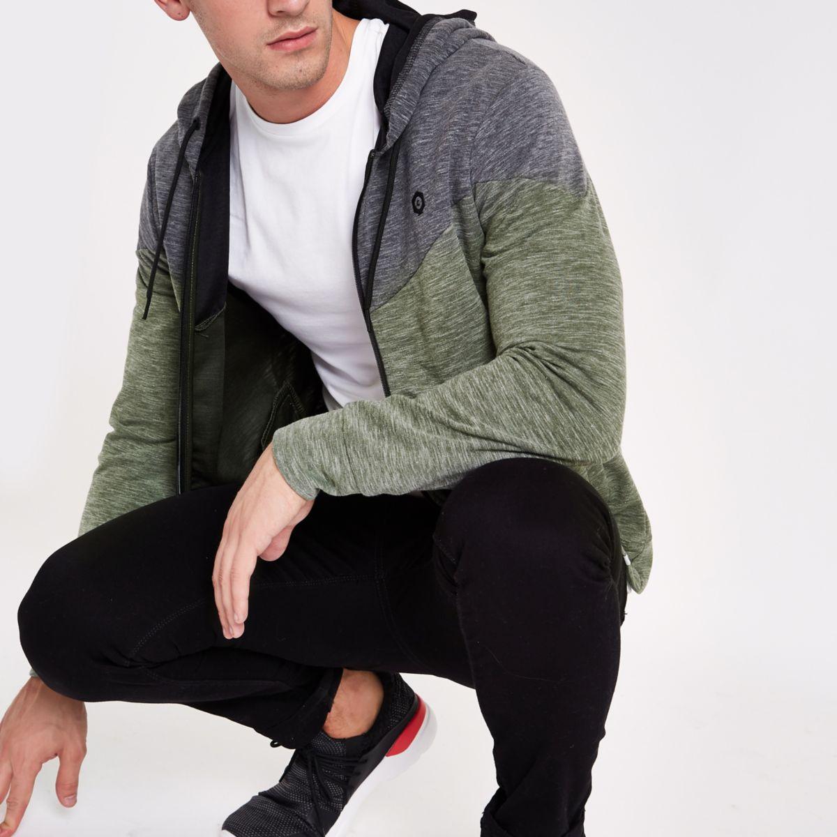 Jack & Jones Core green zip-up hoodie