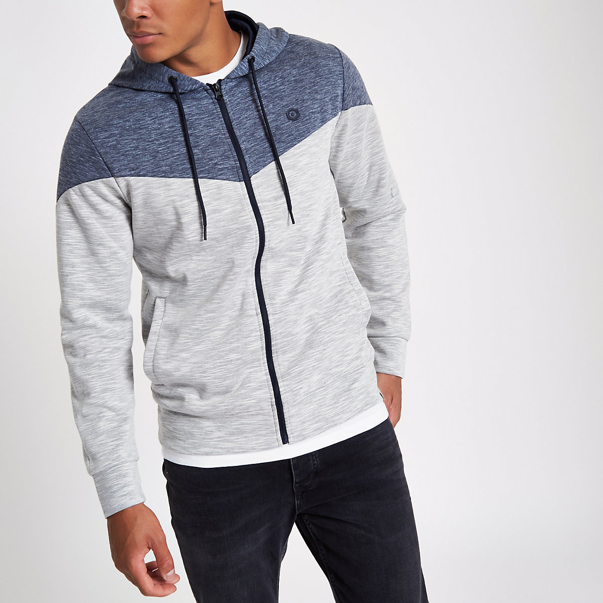Jack & Jones Core white zip-up hoodie