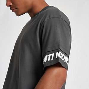 Jack & Jones Core grey print sleeve T-shirt