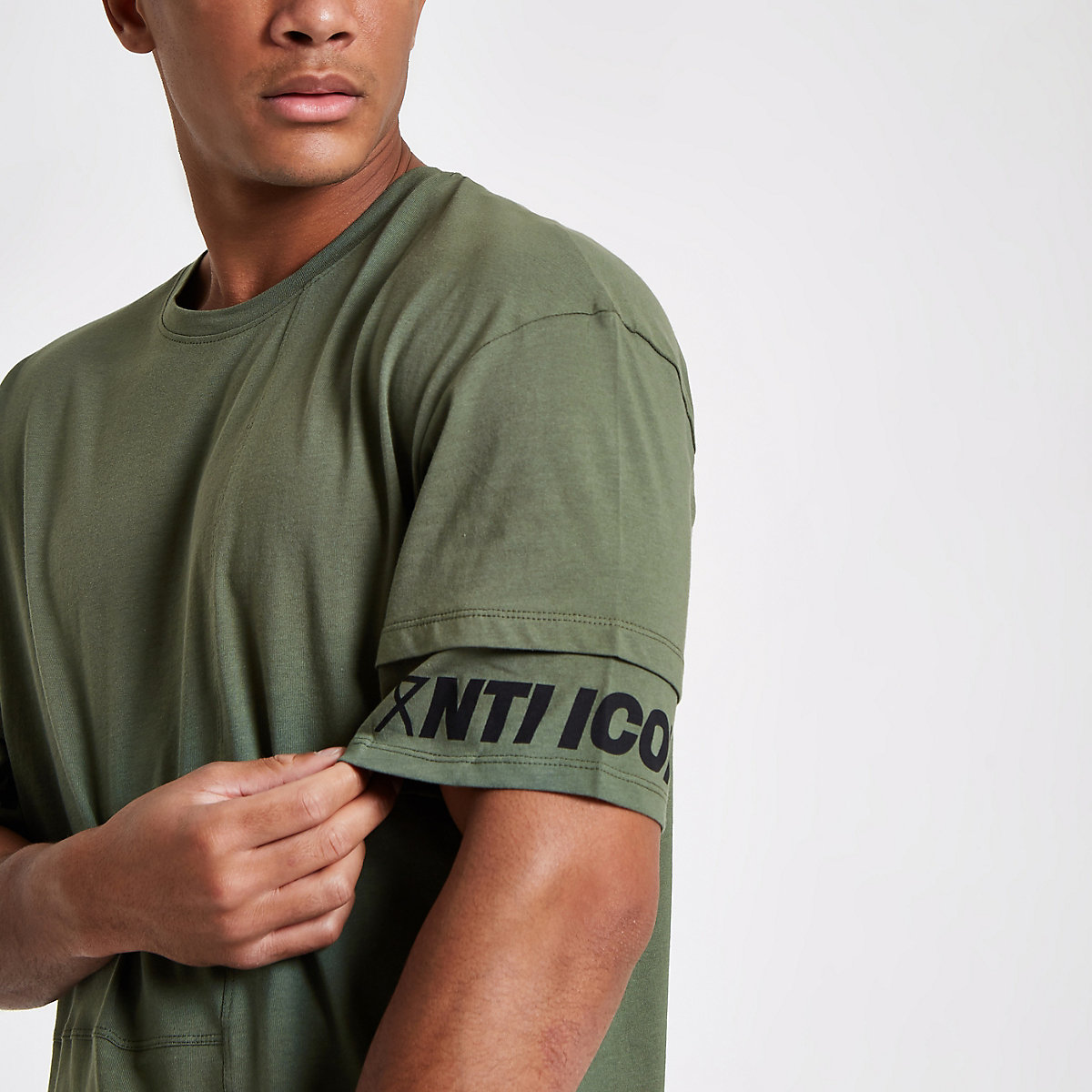 Jack & Jones Core green print sleeve T-shirt